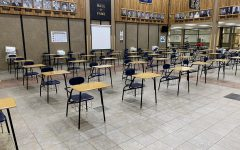 Desks were placed 6 feet apart in the cafeteria so students can social distance. Photo by Darren Rasmussen.