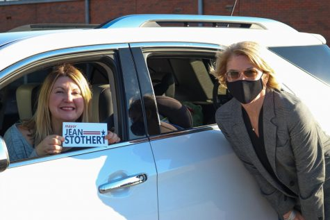 Photo taken of Mayor Stothert with supporter at campaign event.