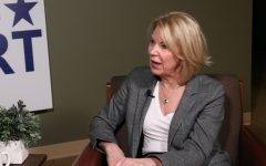Photo of Mayor Jean Stothert being interview at her campaign headquarters.